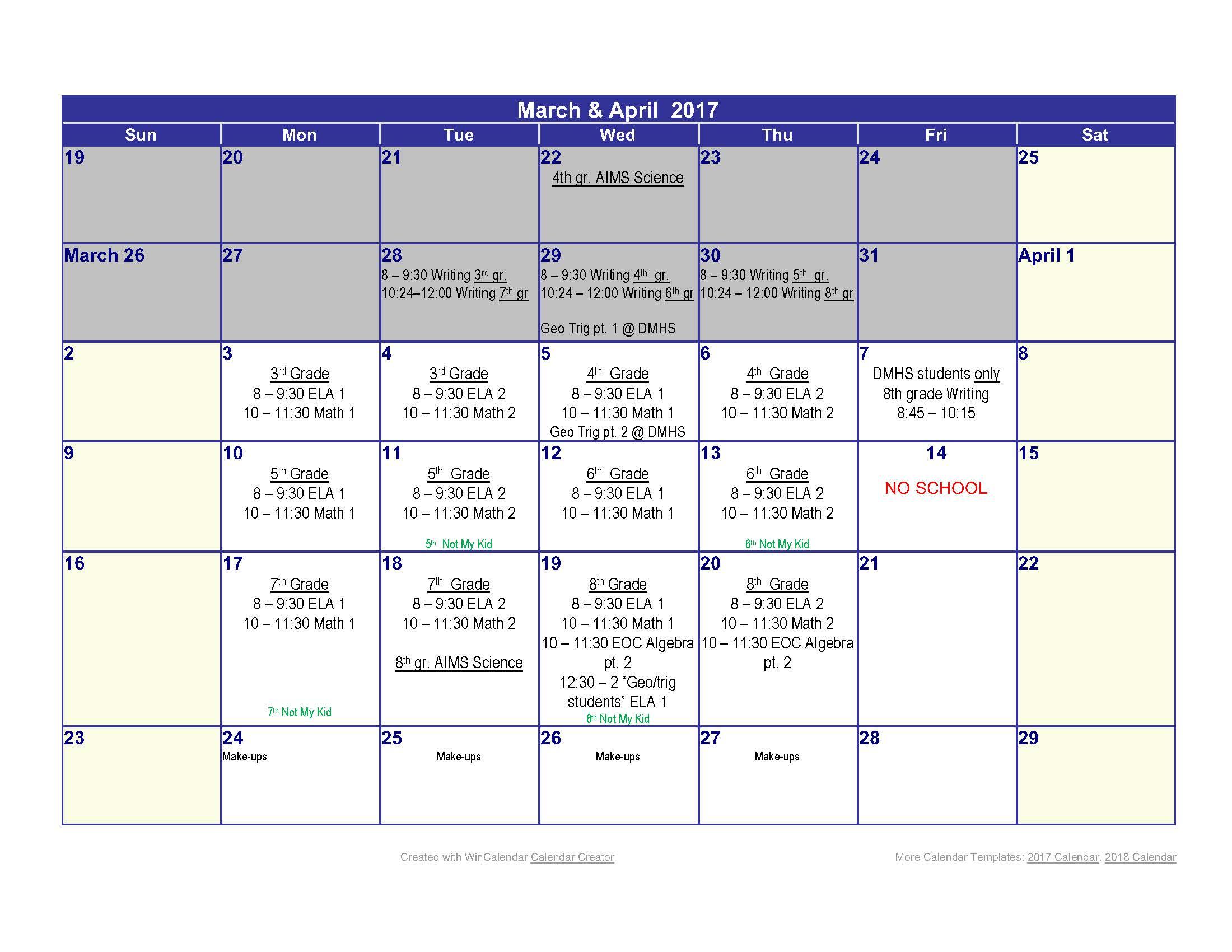 2017 Testing Calendar -parent